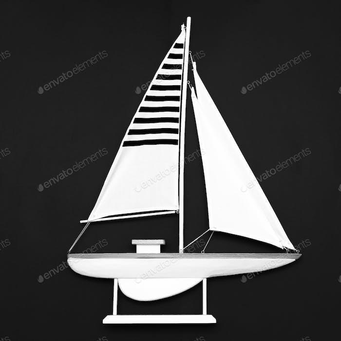 Sailboat Black and white Minimal art