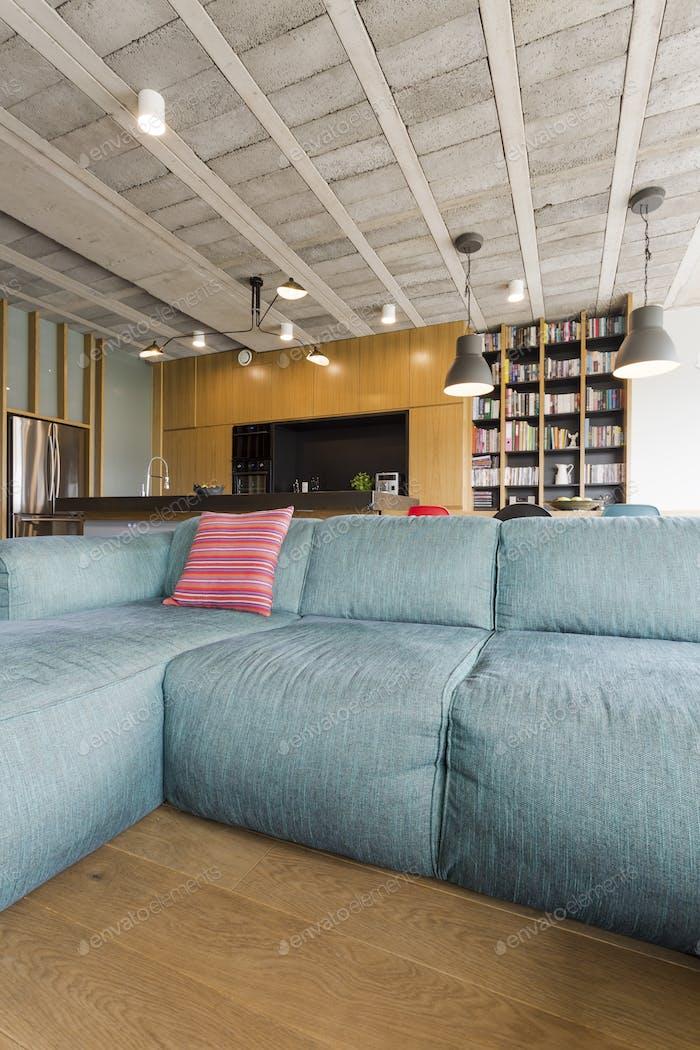 Comfortable turquoise sofa