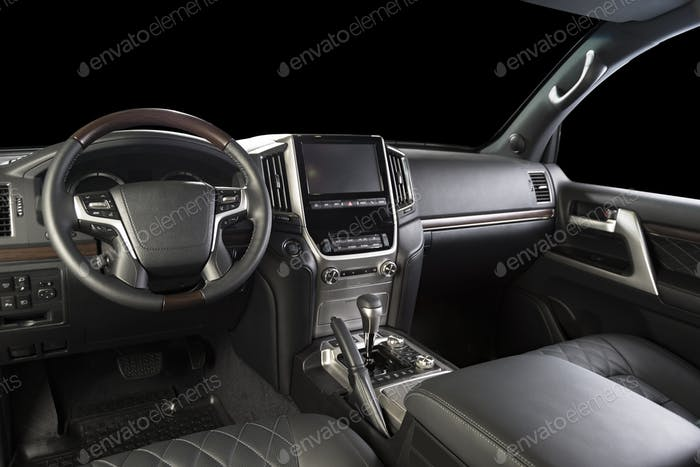 Modern luxury car black leather  interior