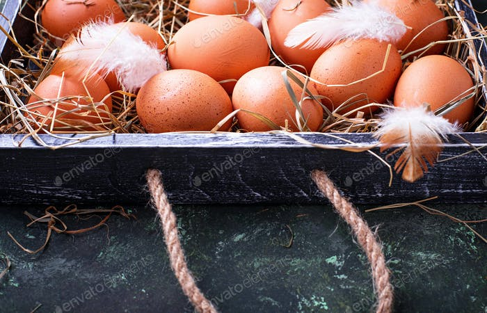 Rohe Hühnereier in Box
