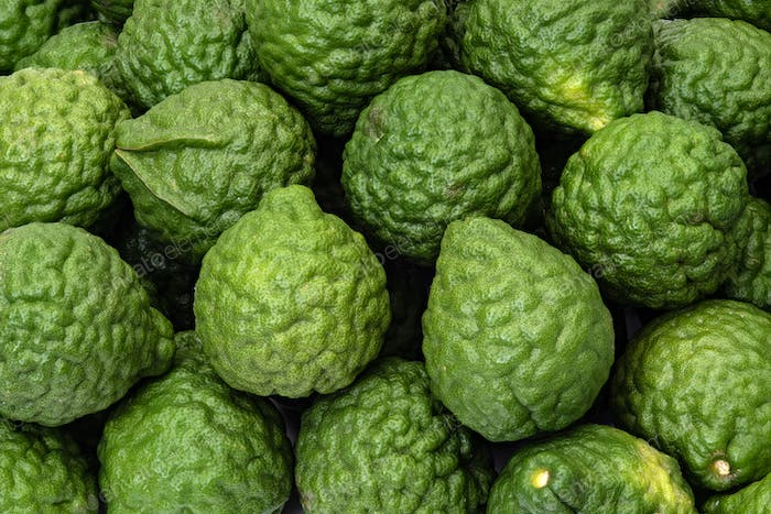 Fresh kaffir limes, bergamot fruit for herbal products