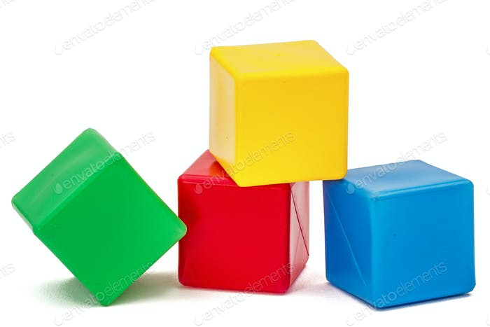 Bright colored childrens cubes, isolated on  white background