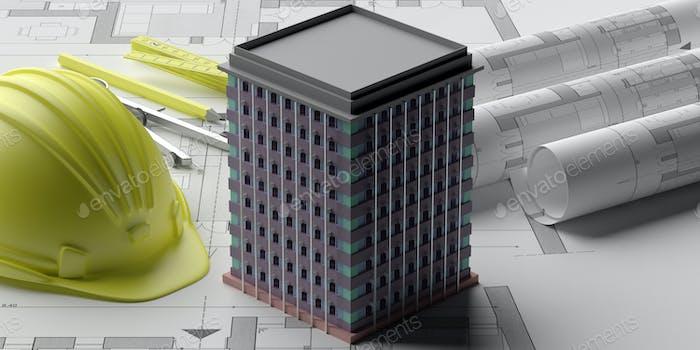 Skyscraper building construction, blueprints background. 3d illustration