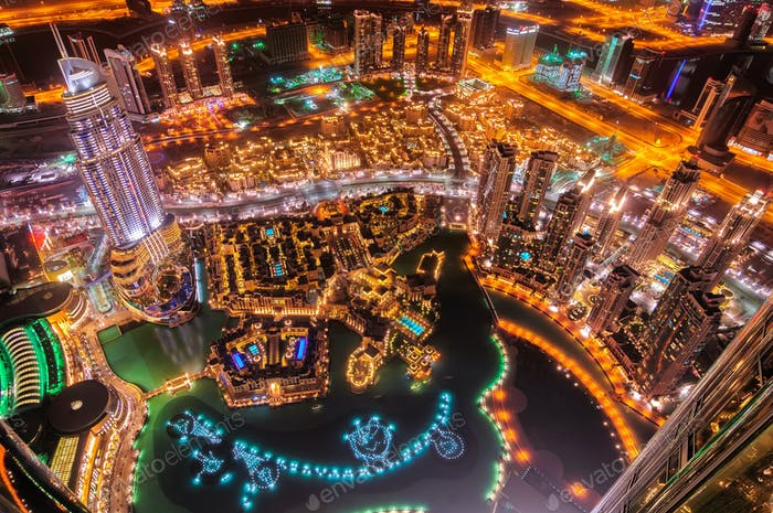 Dubai downtown view by night, Dubai, United Arab Emirates