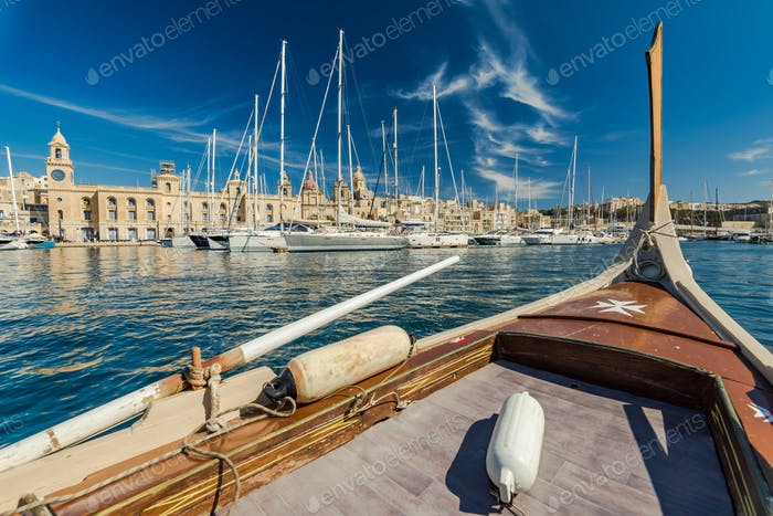 View from onboard of traditional boat in Malta