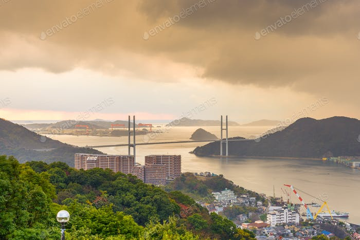 Megami Bridge spans the Bay of Nagasaki, Japan