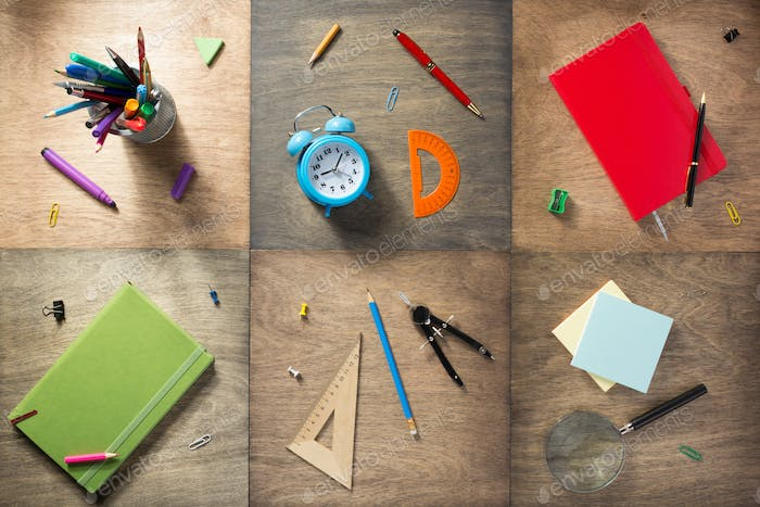 school supplies at wooden background