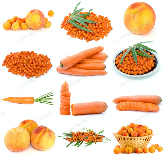 Set of orange fruits, berries and vegetables