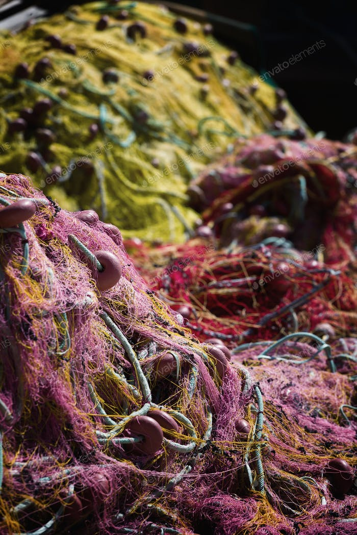 Fishing net. Marine background.