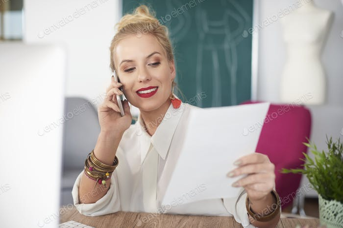 Photo of woman having a call