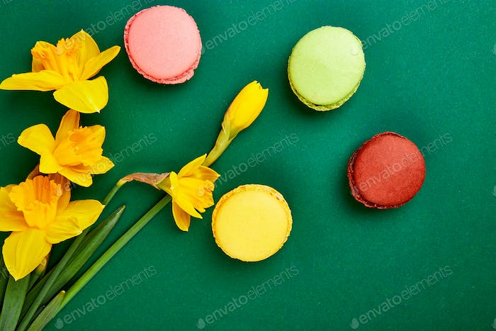 French delicacy, macaroons colorful with spring blossom