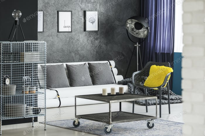 Yellow living room interior