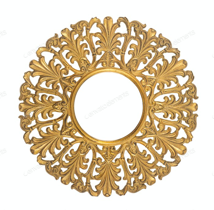 Round wood golden ornament