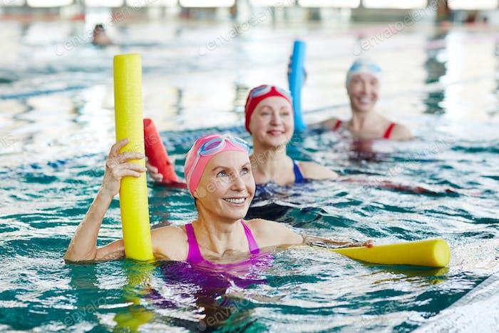 Aerobics in swimming pool