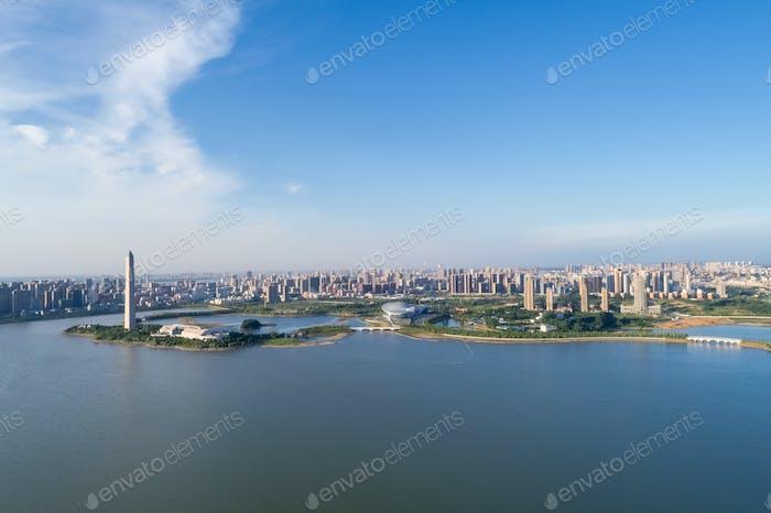 city and lake,beautiful jiujiang cityscape  ,China