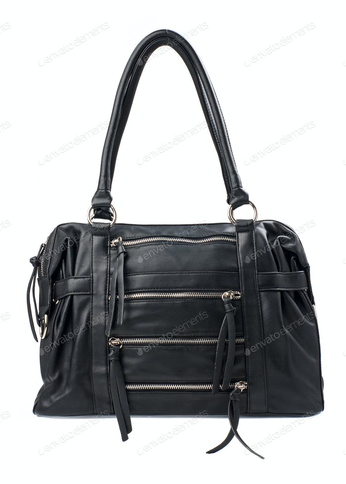 Black female bag isolated over white