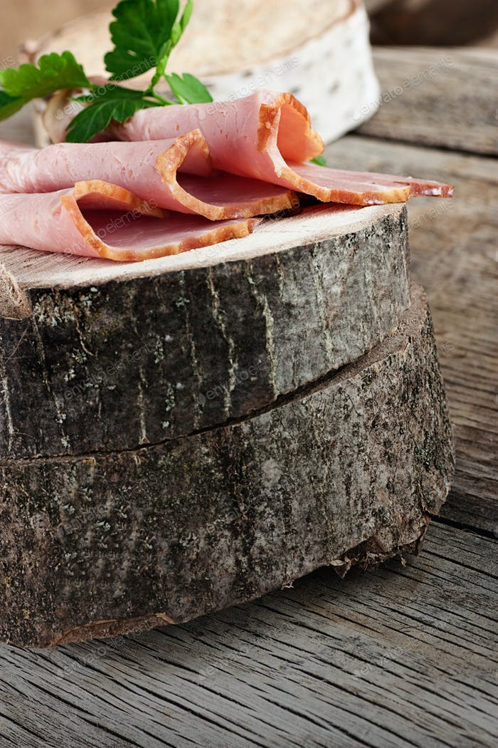 Ham on wood