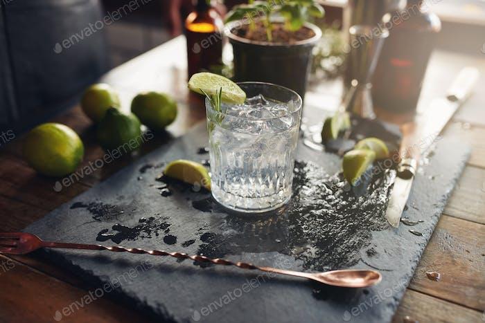 Glas eines frisch zubereiteten Gin Tonic