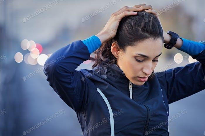 Fitness girl resting
