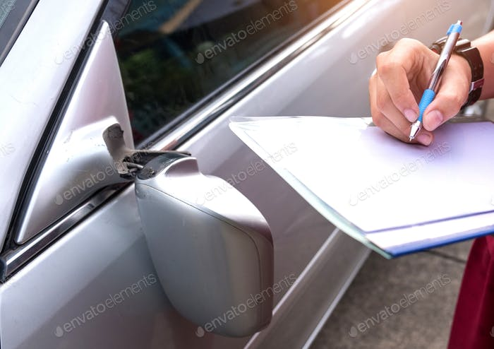 Insurance Officer Checking car accident,Car accident  broken sid