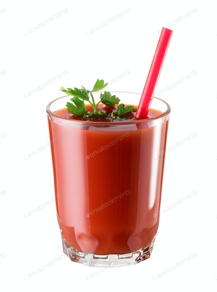 Glass of tomato juice with parsley and a straw
