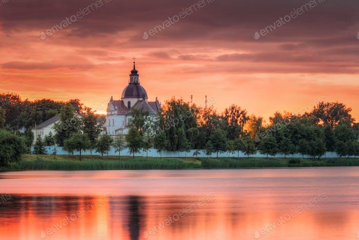 Nesvizh, Minsk Region, Belarus. Corpus Christi Church And Castle