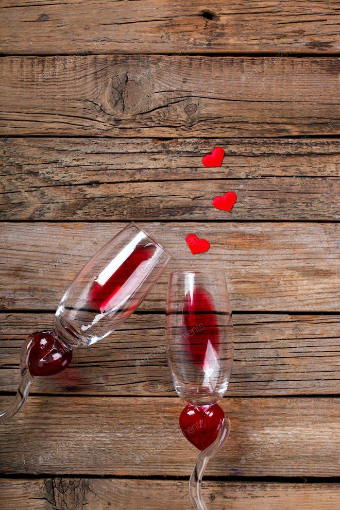 Rotwein. Valentinstag.Grußkarte, Geschenk.