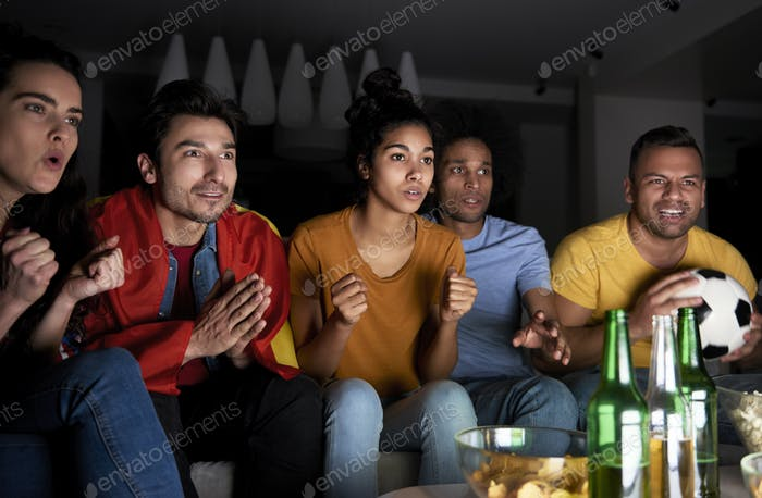 Football fans in anticipation of victory