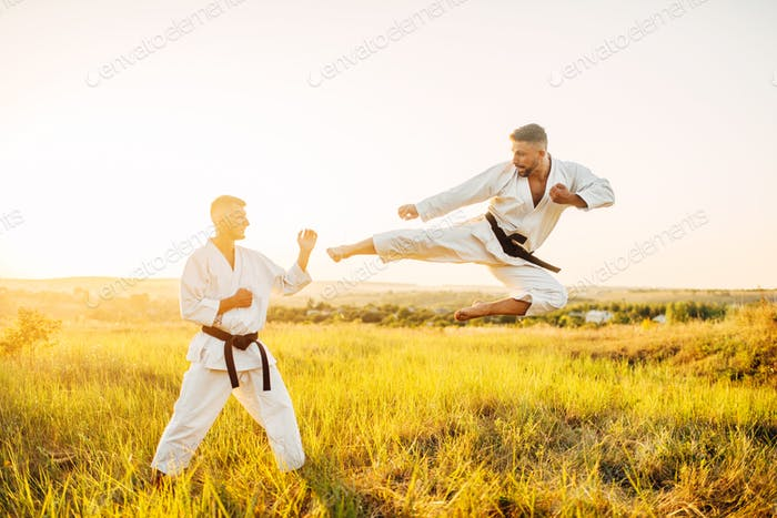 Karate fighters, kick in flight on training fight