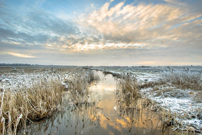 Frozen river Drentsche Aa in northern part of the province of Dr