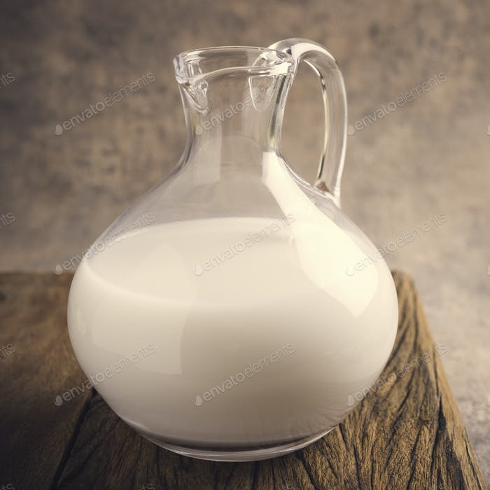 Fresh rice milk in a glass pitcher