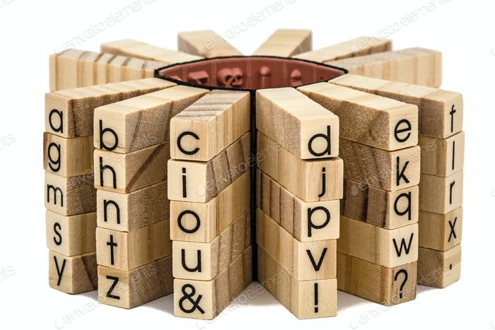 Letters of the English alphabet on the ends of wooden bars, isol