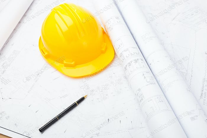 Blue print and safety helmet