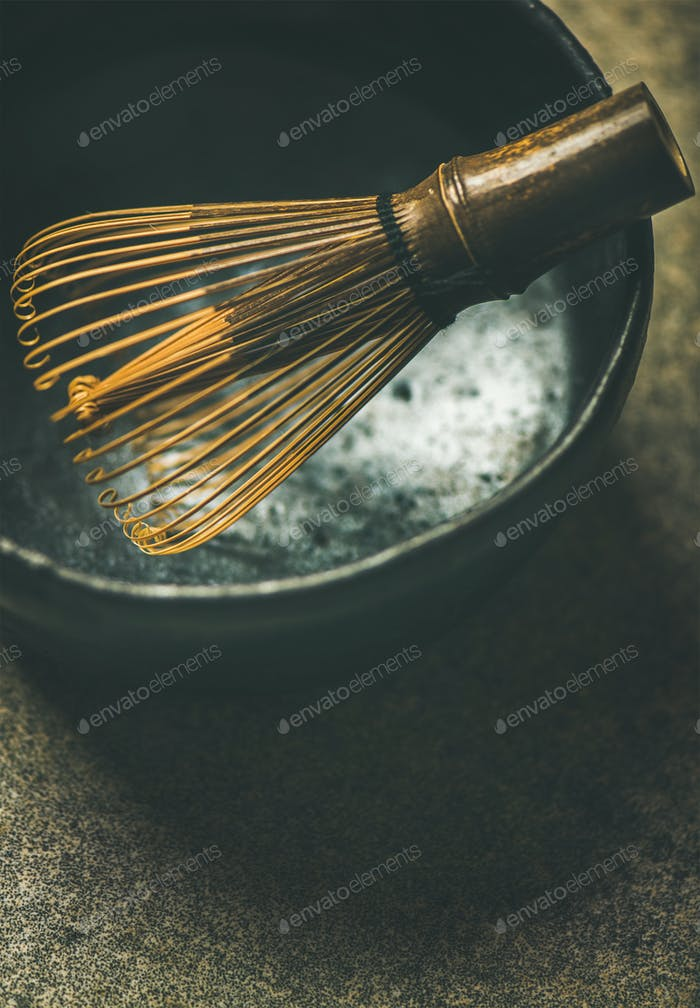 Close-up of traditional Japanese Chasen whisk, copy space