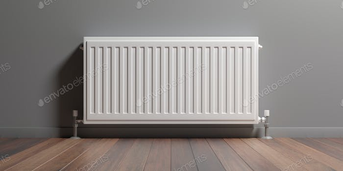 Radiator, wood floor, grey wall background, 3d illustration
