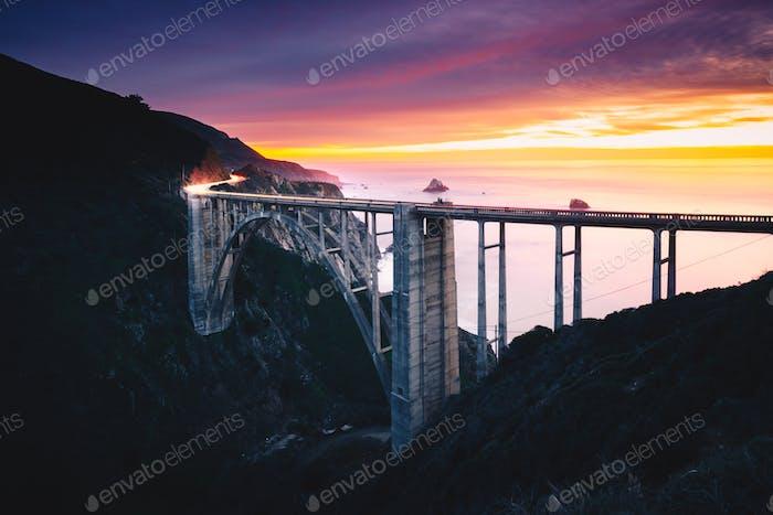 Bixby Creek Bridge at Sunset