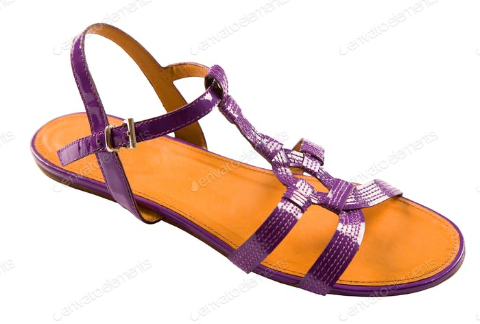 Purple patent leather flat sandal