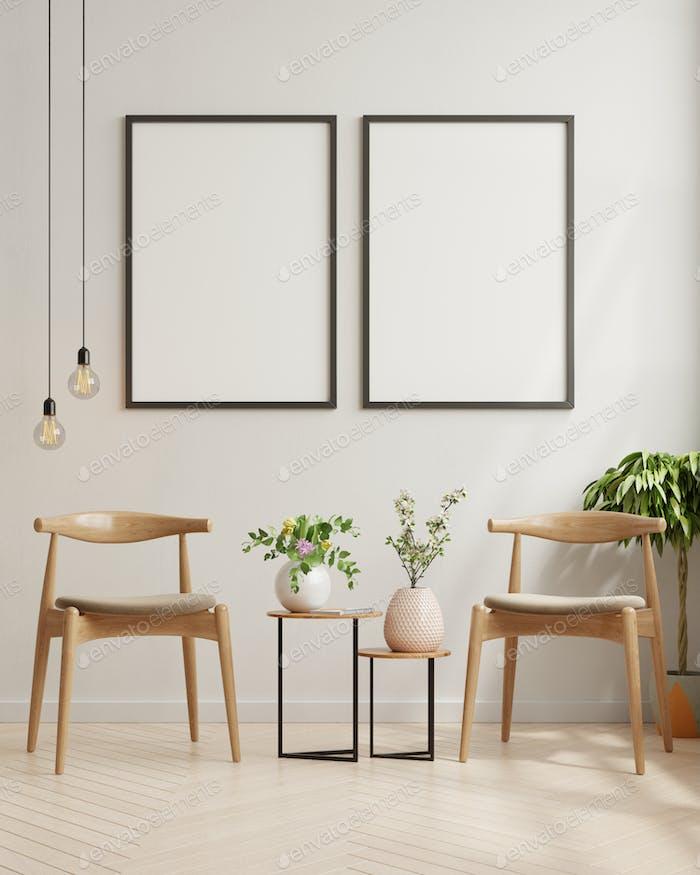 Mock up póster en la moderna sala de estar.