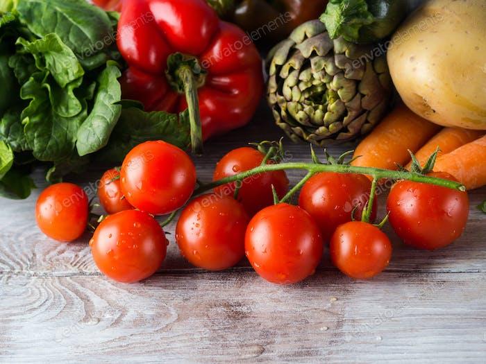 Assortment of fresh vegetables on table