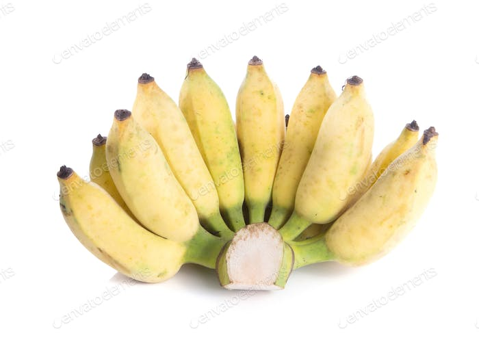 Cultivated banana on white background.