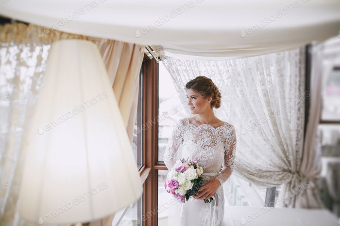 elegant bride in a hotel