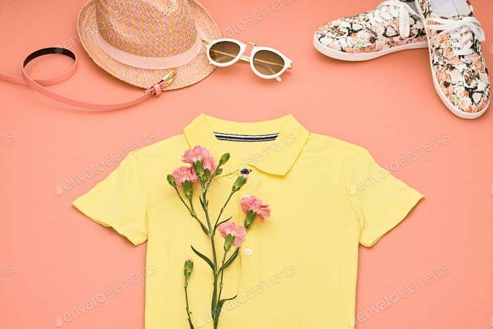 Fashion Hipster girl clothes set. Spring Design