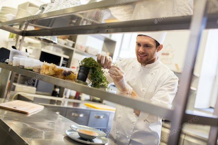 happy male chef cooking at restaurant kitchen