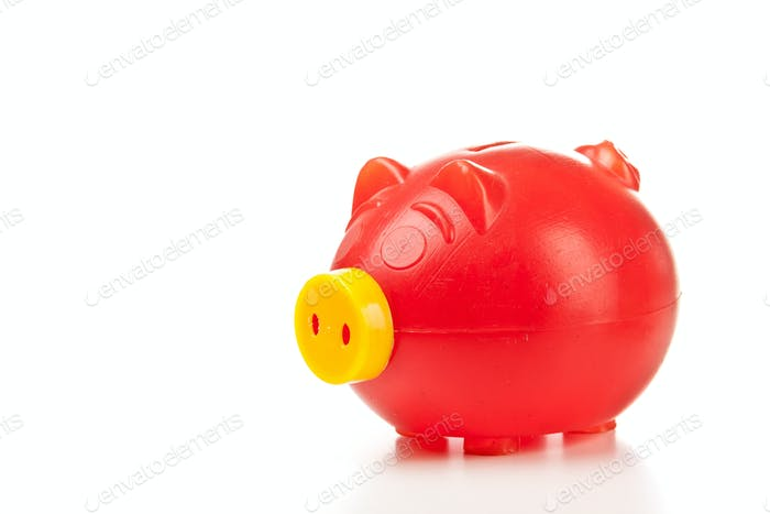 Old red piggy bank