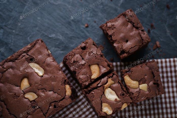 Homemade brownies peanut
