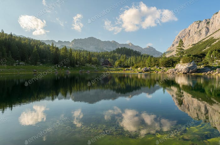 Beautiful nature in the valley of the seven lakes in the Alps