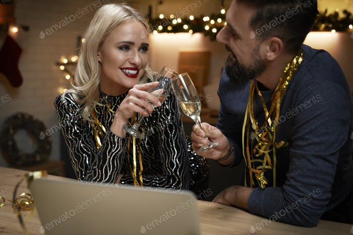 Couple in love celebrating New Year's Eve