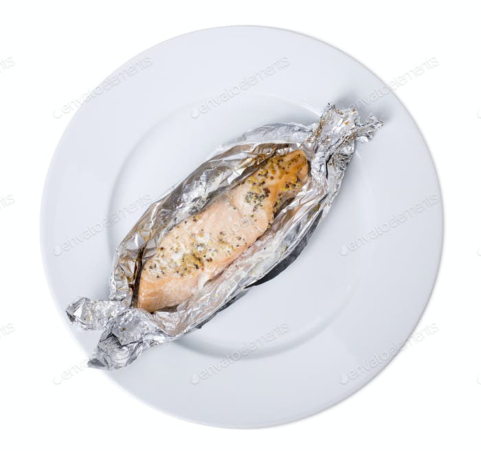 Salmon baked in foil.