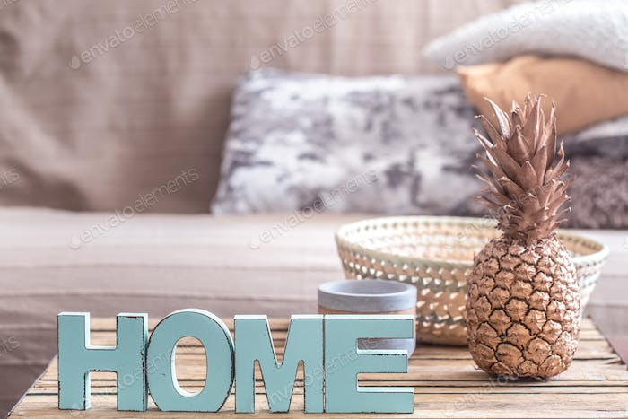 home interior with pineapple on the table