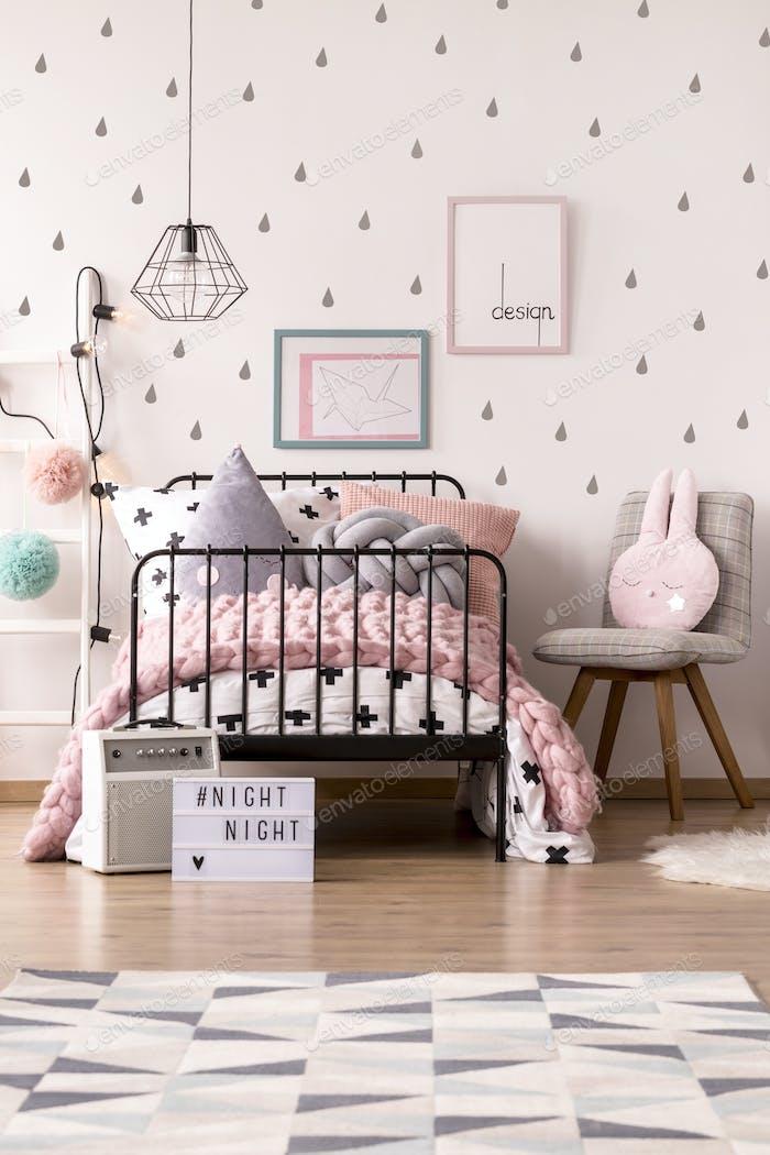 Girl's pastel bedroom interior